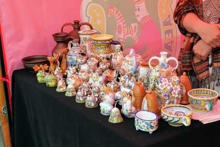 June, 2017, Odoev (Russia): Folk Festival Grandfather Filimons Tales - handicrafts are clay toys.