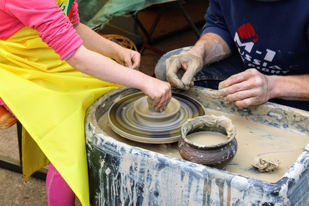 June, 2017, Odoev (Russia): Folk Festival Grandfather Filimons Tales - master class on making pottery.