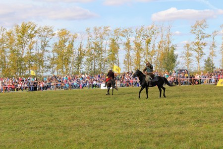 September, 16 2017, Tula, Russia - The International Military and Historical Festival Kulikovo Field: viewers and participants of the festival. Editorial