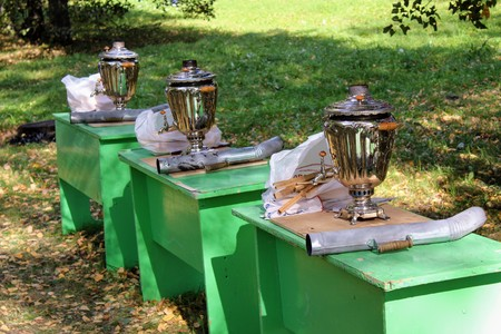 September, 16 2017, Tula, Russia - The International Military and Historical Festival Kulikovo Field: a real Russian samovar (not electric).