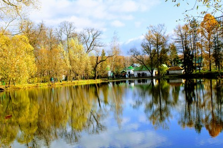 Pond in the estate of Leo Tolstoy in Yasnaya Polyana. Editorial