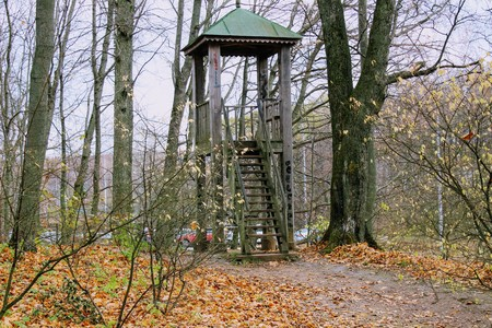 A wooden observation tower in the park in the estate of Count Leo Tolstoy in Yasnaya Polyana. Editorial