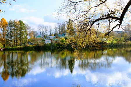 Pond in the estate of Leo Tolstoy in Yasnaya Polyana. Stock Photo