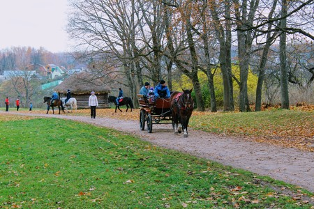 Horse walks in the park in the estate of Count Leo Tolstoy in Yasnaya Polyana in October 2017. Editorial