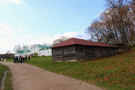 Wooden hut in the estate of Count Leo Tolstoy in Yasnaya Polyana in October 2017.