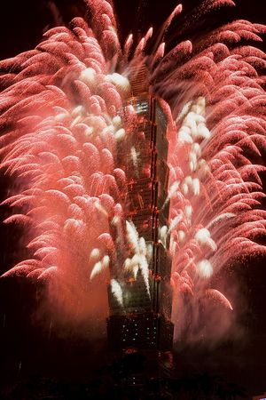 taipei: 2008 New Year fireworks on Taipei 101