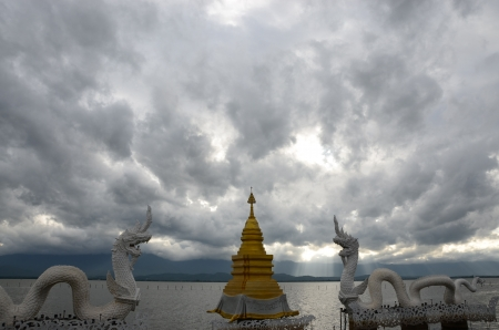 Pagoda under gray clouds photo
