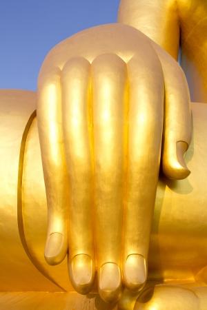veneration: Hand of Buddha statue Stock Photo