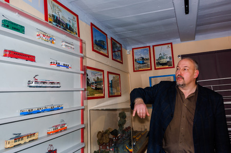 Kolomna, Russia - January 03, 2017: Owner trams-museum shows his collection 1:87 models Editorial