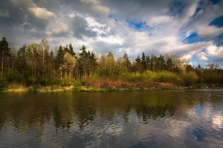 outumn: Outumn Time in Poland. This is Wisla river. Stock Photo