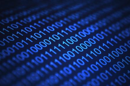 codigo binario: Cluse-Up de color azul-luz de c�digo binario en fondo oscuro con SOD.