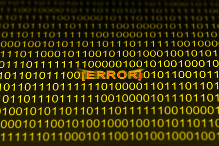 Binary code in yellow tones with red glowing error message on black background. Selective focus Stock Photo - 1478162