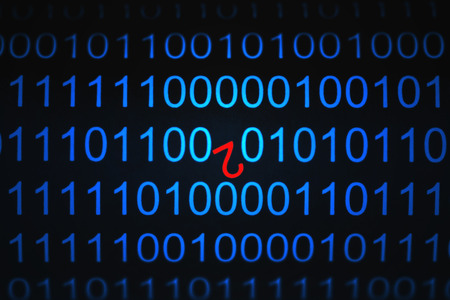 Binary Code in blue tones with red number two in it. Selective focus Stock Photo - 1489640