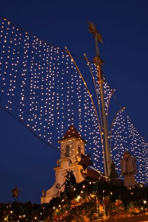 German christmas market (lights and church) photo