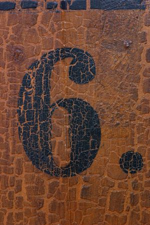 pew: Grungy number 6 on an old church pew (more numbers are coming) Stock Photo