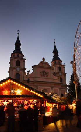 angel tree: German christmas market with church