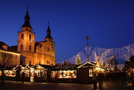 christmas in the city: German christmas market at night