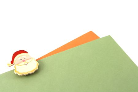 envelops: Writing christmas letters (two envelops in orange and green) Stock Photo