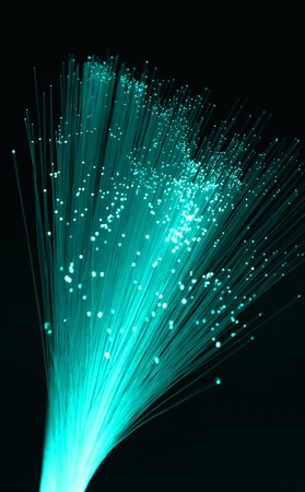 Fiber optic strands in cold cyan tones, shallow DOF Stock Photo - 4286045