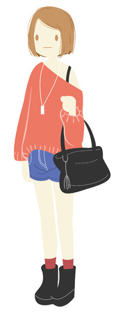 cute girl with long hair: Cute girl in the city everyday picture Illustration