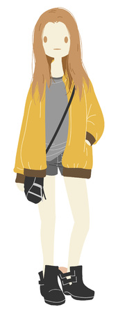 Cute girl in the city everyday picture Illustration