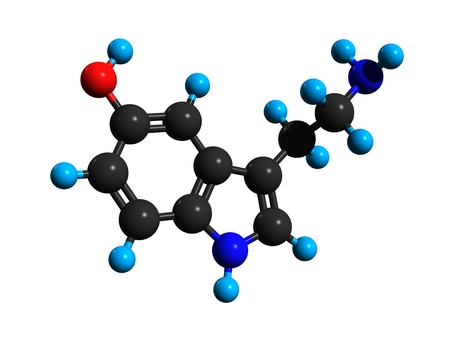 Molecular structure of serotonin (thrombocytin; 5-hydroxytryptamine; 5-HT), a monoamine neurotransmitter, 3D rendering Stock Photo