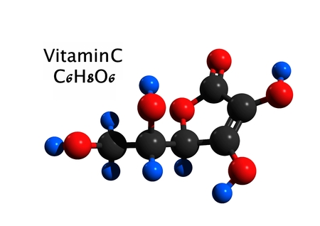 Molecular structure of vitamin C (ascorbic acid, L-ascorbic acid), a vitamin found in food and used as a dietary supplement, 3D rendering