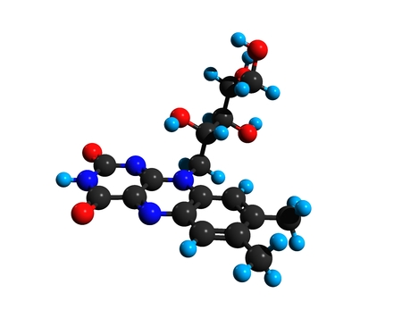 Molecular structure of vitamin B2 (riboflavin), a vitamin found in food and used as a dietary supplement, prevent migraines, 3D rendering