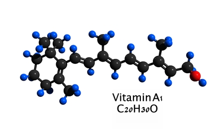 Molecular structure of retinol (vitamin A), a vitamin found in food and used as a dietary supplement, 3D rendering Stock Photo