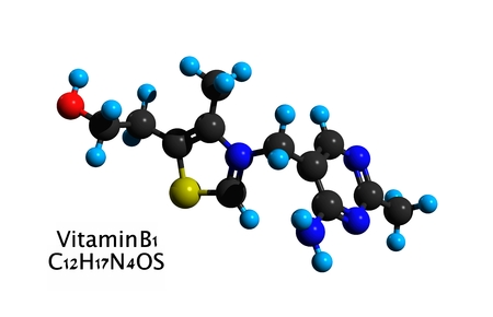Molecular structure of vitamin B1 (thiamine, thiamin), a vitamin found in food and used as a dietary supplement, 3D rendering Stock Photo