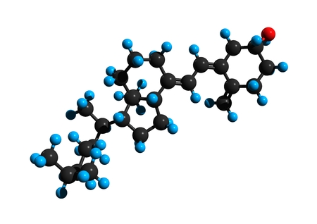 Molecular structure of vitamin D3 (cholecalciferol), a vitamin found in food and used as a dietary supplement, 3D rendering