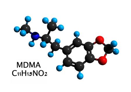 Molecular structure of ecstasy (MDMA, 3,4-Methylenedioxymethamphetamine), a psychoactive drug used primarily as a recreational drug, 3D rendering