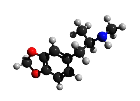 Molecular structure of ecstasy (MDMA, 3,4-Methylenedioxymethamphetamine), a psychoactive drug used primarily as a recreational drug, 3D rendering
