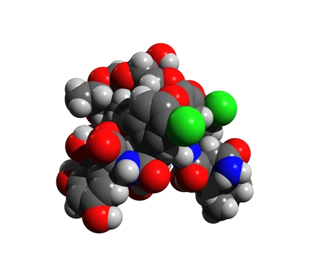 Molecular structure of vancomycin, an antibiotic used to treat a number of bacterial infections, 3D rendering