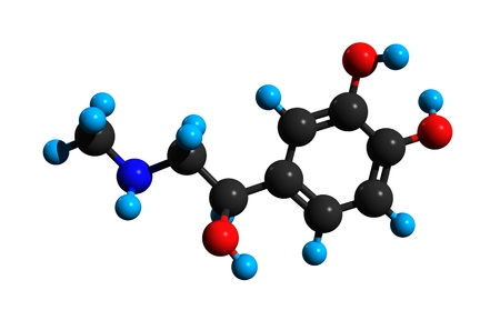 Molecular structure of adrenaline (epinephrine), a hormone, neurotransmitter, and medication, 3D rendering