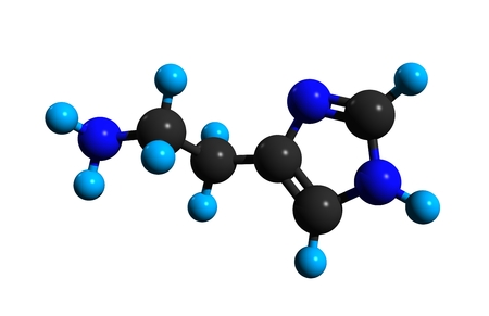 Molecular structure of histamine, an organic nitrogenous compound involved in local immune responses and regulating physiological function, 3D rendering