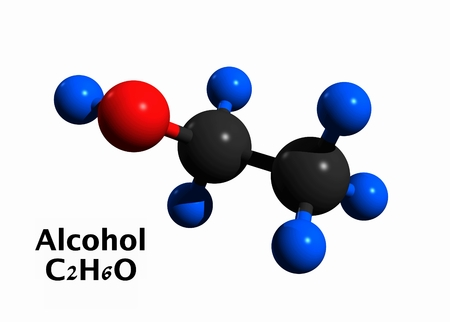 Molecular structure of ethanol (alcohol, ethyl alcohol), 3D rendering