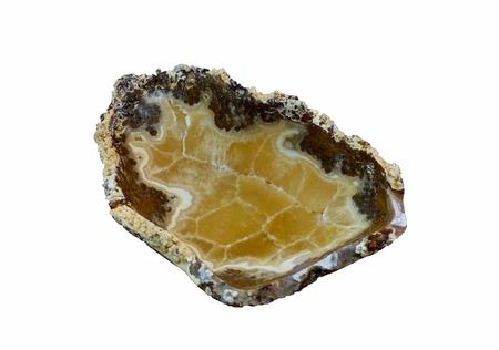 Calciteonyx stone bowl; isolated on white Stock Photo