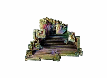Skeletal crystal of lab-grown bismuth; isolated on white Stock Photo