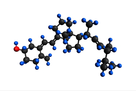 Molecular structure of ergocalciferol (vitamin D2); found in food and used as a dietary supplement), 3D rendering