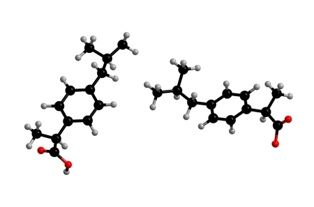 Molecular structure of ibuprofen, nonsteroidal anti-inflammatory drug that is used for treating pain, fever, and inflammation; 3D rendering