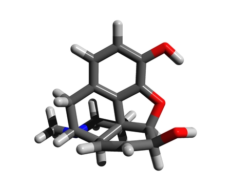 Molecular structure of morphine, a pain medication of the opiate type, highly addictive; 3D rendering Stock Photo