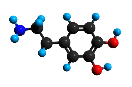 Molecular structure of dopamine (DA, 3,4-dihydroxyphenethylamine), an organic chemical, medication and stimulant drug, 3D rendering Stock Photo