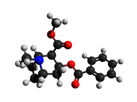 Molecular structure of cocaine, a strong stimulant mostly used as a recreational drug, 3D rendering