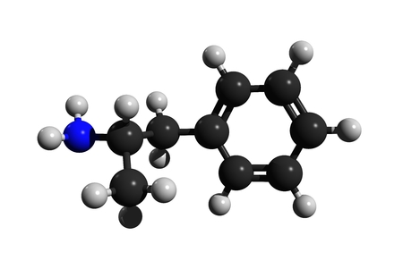 Molecular structure of amphetamine (amfetamine), a powerful stimulant and drug, 3D rendering