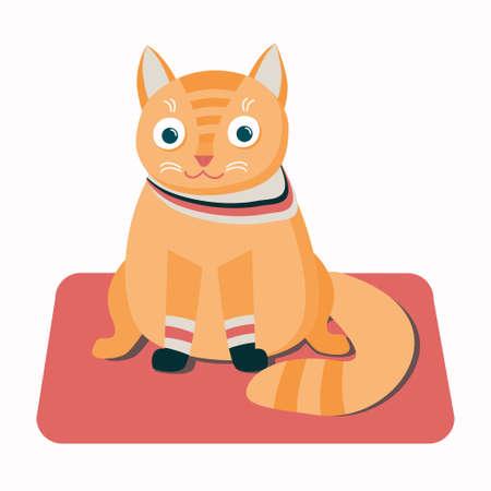 Vector Illustration of Cute Red-headed kitten on a Rug Ilustração