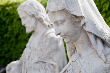 dual: marble mary statues white religion jesus spiritual stone grey silence holy couple dual stone stoneface quiet Stock Photo