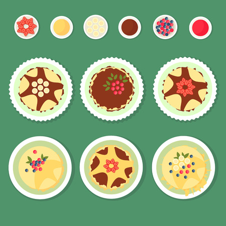 A set of flat pancakes, different toppings on a simple background