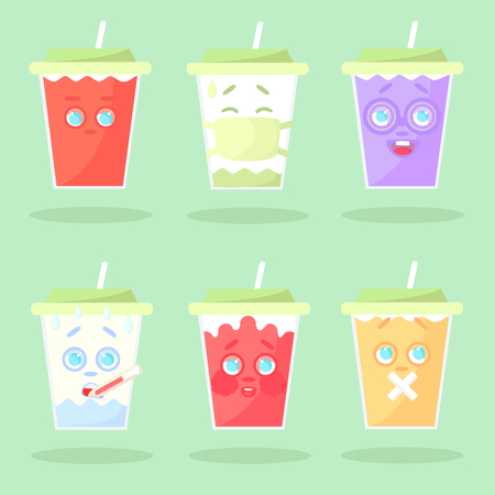 Set of colored lemonade with emotions. Without mouth, in a medical mask, botanist, with thermometr, confused, with mouth sealed. Closed green cover with straw. Cartoon