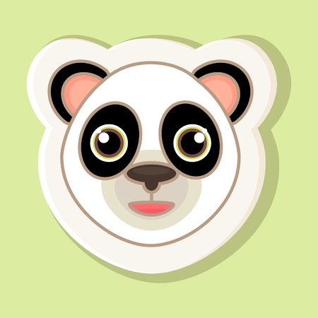 cute bear: A sticker with a cartoon panda face is isolated on a simple background. An image of a panda with a contour.